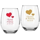 Personalized Solid Hearts Design 9 ounce Stemless Wine Glasses