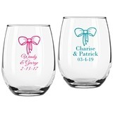 Personalized Bow Design 9 ounce Stemless Wine Glasses