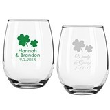 Personalized Shamrock Irish Design 9 ounce Stemless Wine Glasses
