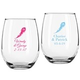 Personalized Peacock Design 9 ounce Stemless Wine Glasses