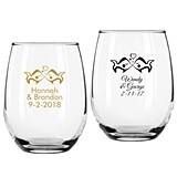 Personalized Kissing Fishes Design 9 ounce Stemless Wine Glasses