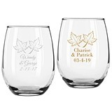 Personalized Two Leaves Design 9 ounce Stemless Wine Glasses
