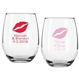 Personalized Kiss Design 9 ounce Stemless Wine Glasses