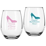 Personalized High Heel Design 9 ounce Stemless Wine Glasses
