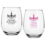 Personalized Chandelier Design 9 ounce Stemless Wine Glasses