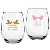 Personalized Love Doves Design 9 ounce Stemless Wine Glasses