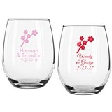Personalized Cherry Blossoms Design 9 ounce Stemless Wine Glasses