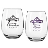Personalized New York Taxi Design 9 ounce Stemless Wine Glasses
