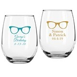 Personalized His Eyeglasses Design 9 ounce Stemless Wine Glasses