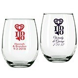 Personalized Key To My Heart Design 9 ounce Stemless Wine Glasses