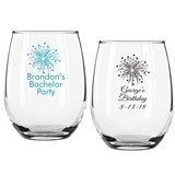 Personalized Fireworks Design 9 ounce Stemless Wine Glasses