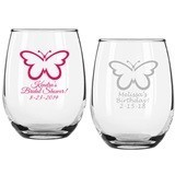 Personalized Butterfly Silhouette Design 9 ounce Stemless Wine Glasses