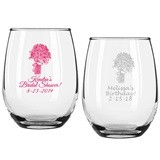 Personalized Floral Bouquet Design 9 ounce Stemless Wine Glasses