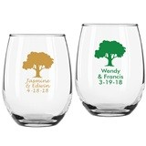 Personalized Tree of Life Design 9 ounce Stemless Wine Glasses