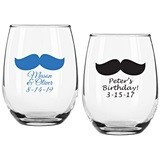Personalized Vintage Mustache Design 9 ounce Stemless Wine Glasses