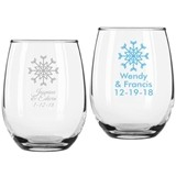 Personalized Stylish Snowflake Design 9 ounce Stemless Wine Glasses
