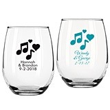 Personalized Music Notes Design 9 ounce Stemless Wine Glasses