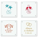 Personalized Fun & Unique Wedding Designs Glass Coasters (61 Designs)