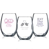 Personalized 9 oz. Wedding Stemless Wine Glasses (61 Designs)