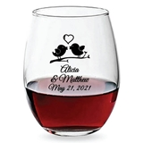 Personalized 15oz Kissing Love Birds Design Stemless Wine Glasses