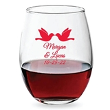 Personalized 15oz Loving Doves Design Stemless Wine Glasses