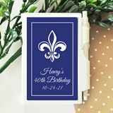 Notebook Favor with Personalized Fleur de Lis Design Sticker on Case