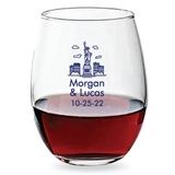 Personalized 15oz New York City Skyline Design Stemless Wine Glasses