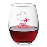 Personalized 15oz Airplane Vapor Trail Heart Motif Stemless Wine Glass