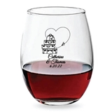 Personalized 15oz Love Travels Heart-Route Design Stemless Wine Glass