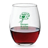 Personalized 15oz Wedding Getaway Car Design Stemless Wine Glasses