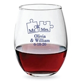 Personalized 15oz My Missing Piece Puzzle Design Stemless Wine Glasses