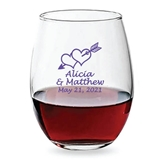 Personalized 15oz Love Struck Cupid's Arrow Design Stemless Wine Glass