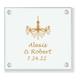 Personalized Ornate Chandelier Design Glass Coaster (18 Ink Colors)