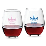 Personalized 9oz Ornate Chandelier Design Stemless Wine Glasses