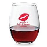 Personalized 15oz Lipstick Kiss Design Stemless Wine Glasses