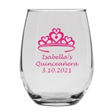 Personalized 15oz Quince Crown of Hearts Design Stemless Wine Glasses
