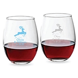 Personalized 9oz Leaping Reindeer Design Stemless Wine Glass