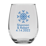 Personalized 15oz Single Winter Snowflake Design Stemless Wine Glasses
