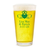 Personalized 'Friendship Loyalty and Love' Claddagh Design Pint Glass