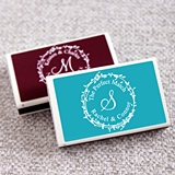 Personalized Wreath Monogram White Matchboxes (Set of 50)