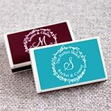 Personalized Wreath Monogram White Matchboxes (Set of 50)