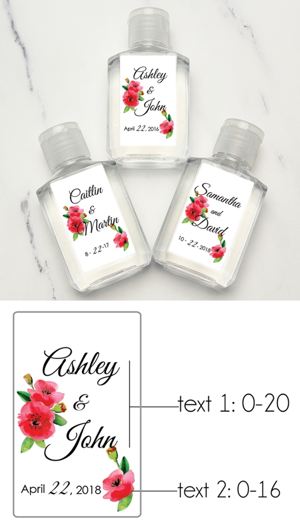 Personalized Beautiful Watercolor Poppies Motif Hand Sanitizers