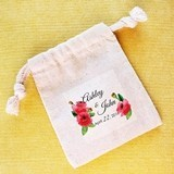 Personalized Watercolor Poppies Muslin Favor Bags