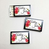 Personalized Watercolor Poppies Black Matchboxes (Set of 50)