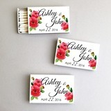 Personalized Watercolor Poppies White Matchboxes (Set of 50)