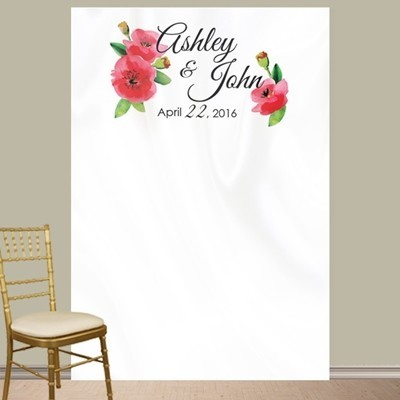 Personalized Watercolor Poppies Photo Booth Backdrop