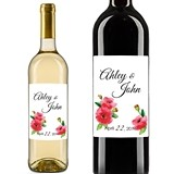 Personalized Watercolor Poppies Wine Bottle Stickers (Set of 5)
