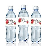Personalized Watercolor Poppies Water Bottle Stickers (Set of 6)