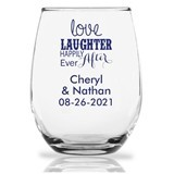 "15oz Personalized ""Love Laughter ..."" Stemless Wine Glasses"