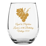 Personalized 15oz Grapevine & Wine Grapes Design Stemless Wine Glasses